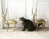 Vintage Brass Antelope Figurine, Tall Metal Animal Statue, Mantel Statement Piece, Heavy Hollywood Regency Decor