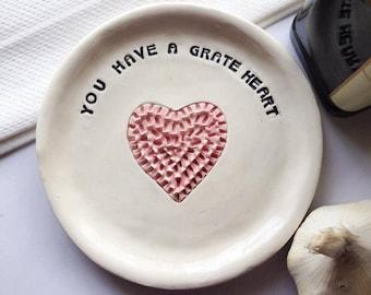 Grater - Ginger Grater - Garlic Grater Plate - Heart Plate - Kitchen Grater - Gift For Her - Mincer - Ceramic Grater Plate - Heart Plate
