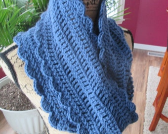 Hand crocheted infinity scarf, dark country blue