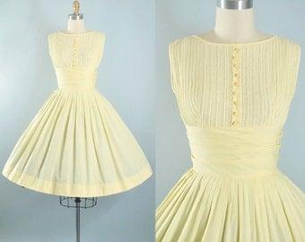 Vintage 50s Dress / 1950s Cotton Yellow Sundress RIC RAC Trim Shelf Bust Full Swing Skirt Garden Picnic Party Pinup XS S Small