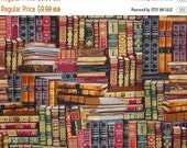 ON SALE Library Books Print in Reds and Gold Pure Cotton Fabric--One Yard