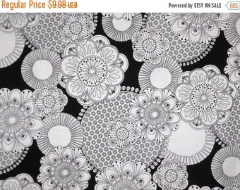 ON SALE Black and White Floral Print Pure Cotton Fabric-One Yard