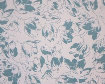 ON SALE SPECIAL--Dusty Teal Blue Floral Print Pure Cotton Faille Fabric--One Yard