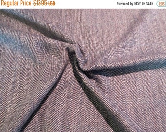 ON SALE Classic Blue Gray Herringbone Wool Blend Fabric--One Yard
