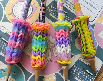 4 Removable Rainbow Loom Pencil Grips with Pencils - Butterflies, Peace, BFF, Stars, Geometric - Pink, Purple, White, Yellow, Blue, Orange