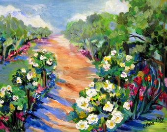 Rose Garden Path Landscape Original painting 18 x 24 Art by Elaine Cory