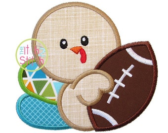 "Turkey Football Applique Design shown with our ""Adipose Unicase"" Font NOT Included, size(s) 4x4, 5x7, & 6x10, INSTANT DOWNLOAD now available"