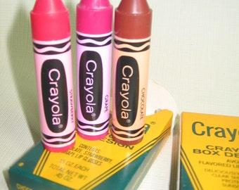 Vintage Avon Crayola Lip Gloss 3 Piece Set Never Used in  Box  1980s Adorable Kitsch- Chocolate, Strawberry, Grape
