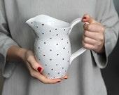 Ceramic Pitcher - Pottery Vase in White and Gold - Polka Dot
