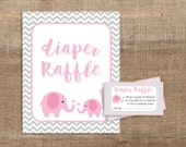 Pink Elephant Diaper Raffle Tickets & Sign, Pink and Grey Chevron Shower Invitation Insert, Baby Girl, DIY Printable, INSTANT DOWNLOAD