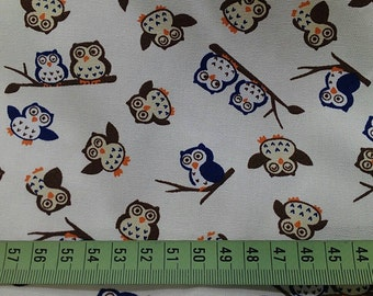 "Happy owls - 1 yard - cotton linen - 4 colors - fabric ,forest, cute, Check out with code ""5YEAR"" to save 20% off"
