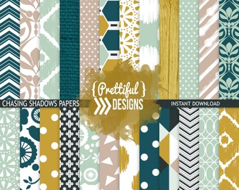 Teal and Mustard Digital Paper Pack Backgrounds  - Commercial Use - Chasing Shadows