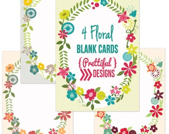 Flower Ringed Blank DIY Floral Wedding Announcements Baby Shower Invitations - Four Varieties Included