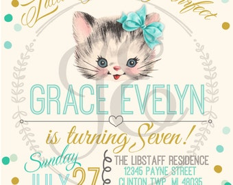 Vintage Kitty Cat Birthday Party Invitation ~ Girls Invite ~ Personalized ~ kitten ~ mint~ gold ~ violet ~ teal ~ turquoise ~ polka dots