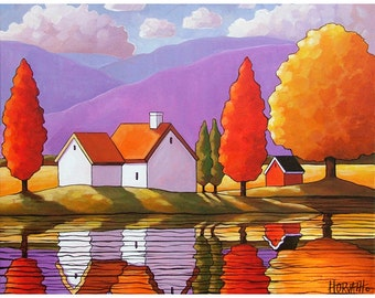 8x11 Art Print of Autumn Purple Mountain Cottages, Modern Folk Art Colorful Fall Trees Watery Reflection Landscape, Artwork by Cathy Horvath