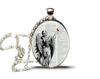 Angel and Cardinal Dictionary Art Print Pendant Dictionary Necklace Hamilton House Prints Orginal Jewelry Cardinal Jewelry