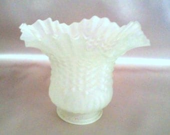 Glass Hobnail Globe, Frosted, Fluted, Gift Idea 4 Her, Vintage Collectible, Vintage Glass, Shade, Light Fixture, Chandelier Globe, 80s