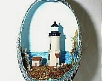 Decorated Egg, Emu Egg, Lighthouse Egg, Nobska Point, Diorama, Egg Art, Nautical Design, Handmade, Gift Idea 4 Him/Her, Collectible OOAK Egg