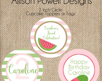 Watermelon Birthday Party Summer Birthday Party - Print your own - Pink or Red Cupcake Toppers