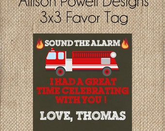 Firetruck, Fire Station, Firemen Birthday Party - Favor Tag