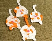 4 Crochet Cat Tail Coaster Orange Cat Butt Caoster for Kerry