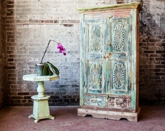 Restored Vintage Cabinet Indian Antique Cupboard Moroccan Interior Kitchen Storage Bedroom Wardrobe Retail Display Turkish Decor Mudroom