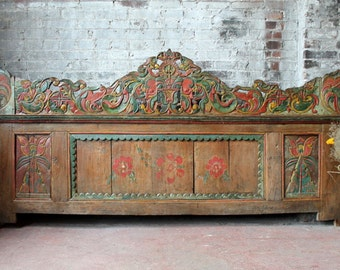 Headboard Salvaged Indonesian Architectural Element Wall Hanging Carved Panel Reclaimed Restaurant Decor Back Bar Beach Coastal Interior