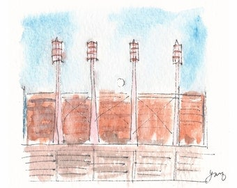 Cincinnati Reds Stadium - Moon rise. An original watercolor