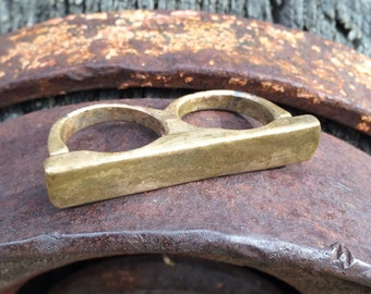 Men's Antique Bronze Adjustable Two Finger Bar Ring