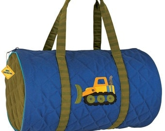SHIPS NEXT DAY---Personalized Monogrammed Stephen Joseph Quiltedn Royal Construction Bulldozer Duffle Bag  Travel Tote --Free Monogramming