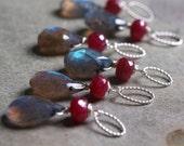 Labradorite and Ruby Charm Pendant