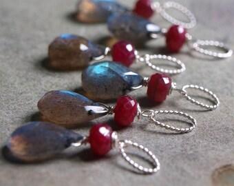 Labradorite and Ruby Charm Pendant #10