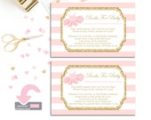 Pink and Gold Book Request Insert Cards - Baby Shower Insert Cards - Shower Invitation Enclosure - Tutu Baby Shower - Bring A Book Card