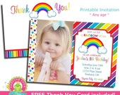 Rainbow Birthday Invitation - Rainbow Birthday Party Invitation - Rainbow Invitation - Girls Rainbow Party Invitation - Rainbow Invite