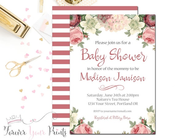Girls Baby Shower Invitation, Rustic Floral Baby Shower Invitation, Boho Baby Shower, Rustic Baby Shower, Country Baby Shower, Coral