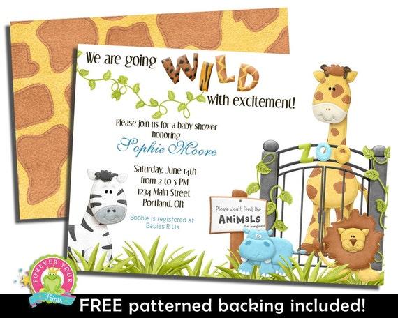 Jungle Safari Baby Shower Invitation - Jungle Baby Shower Invite - Printable Baby Shower Invitation - Safari Baby Shower - Gender Neutral