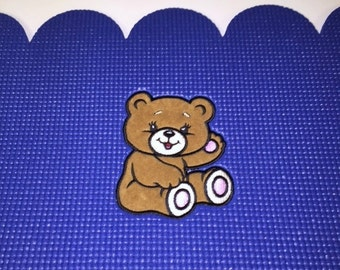 Custom Teddy Bear Applique Embroidered Baby Mat- Fur Texture