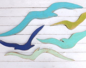 Seagulls / Wood Seagull / Wall Seagulls / Coastal Wall Decor / Rustic Beach Wall Decor / Coastal Colors Cyber Monday
