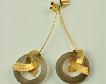 earrings, 18K solid gold, smokey quartz