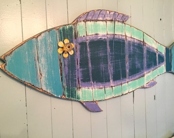 Fish Wall Sign Art Turquoise Beach House Weathered in Sea Glass Colours by CastawaysHall
