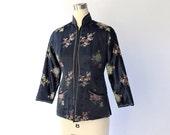 SALE // 1950s Chinese Satin Jacket // 50s Vintage Navy Blue Jacquard Floral Zip Up Jacket // XS
