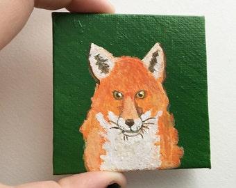 Red Fox. Mini Canvas Acrylic Painting