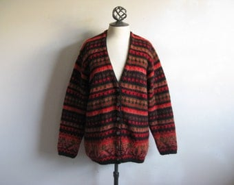 Vintage 1990s Ethnic Cardigan United Colors 0f Benetton Red Womens Knit Cardigan Large