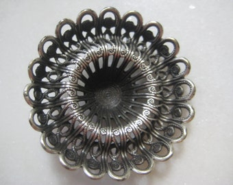 Vintage Filigree: 1970s Guyot Ornate Lacy Deep Dapt (Dapped) Round Stamping, Silver Plated Jewelry Finding, Unused Old Stock, 30mm, 1 pc.