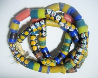 "Krobo Beads; Powder Glass Beads, Colorul African Glass Beads, Jewelry Making Supplies, Hand Made in Ghana, 49 Pcs 35"" Long Mixed Strand (k)"