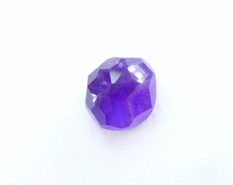 Amethyst Faceted Cabochon. Rose Cut Micro Facet Cab. Saturated Purple Color. Rock Candy Gem. 1 pc. 8.56 cts. 12x13.5x8 mm  (AM1484)