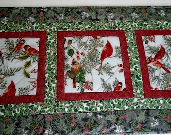 Winter Quilted Table Runner, Christmas Quilted Table Runner, Red Cardinals, Holiday Quilted Table Runner, Holly, Quilted Table Topper
