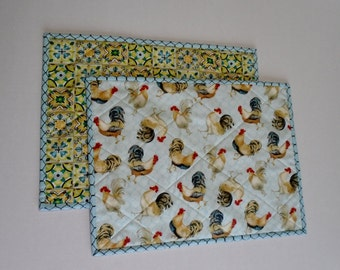 Quilted Placemats, Fabric Placemats, Country Kitchen Placemats, Primitive, Rooster, Quilted Table Decor, Farmhouse, Blue