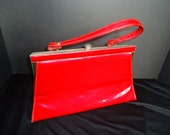 Cherry Red Patent Leather Vintage 1950's Rockabilly Handbag Purse