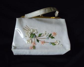 Seashell Floral Under Clear Plastic Vintage 1950's Women's White Handbag Purse
